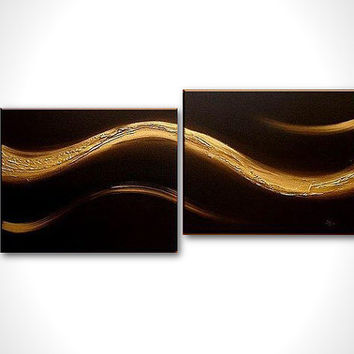 Gold painting - Black art - Abstract art deco - Texture painting - stretched canvas - Abstract painting - Black oil painting - On sale