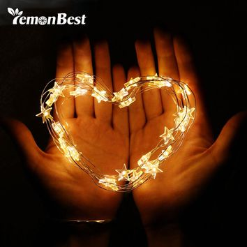 LemonBest Copper Wire Star String Light for Glass Craft Valentine's Day