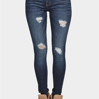 Scraped Skinny Jeans- -Blue