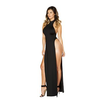 Roma USA Sexy Dresses Maxi Length Halter Neck Dress with High Slits