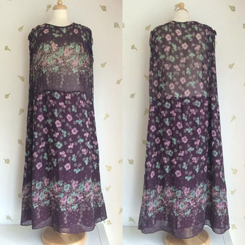 1970's Sheer Floral Maxi Dress ~ Drop Waist ~ 70s does 20s ~ Plum & Pastels ~ Geranium Print / Free Size / Vintage 70s