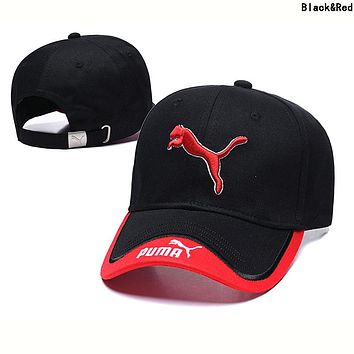 PUMA Fashion Women Men Embroidery Sports Sun Hat Baseball Cap Hat Black&Red