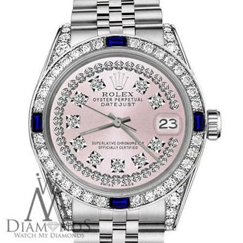 Rolex 36mm Datejust Pink String Dial with Sapphire & Diamond Vintage Style Watch