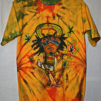 Painted Rasta T Shirt Mexican Rastafarian Art Cotton Tie Dyed T Shirt Hippie T Shirt  Unisex Tie Dyed T Shirt Skater 420  Rastafari S/M