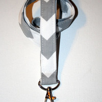 Fabric Lanyard / ID Holder with lobster claw clasp Gray Chevron Zig Zag