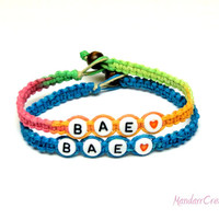 Bracelets for Couples, Before Anyone Else, BAE, Neon and Bright Blue Hemp Jewelry - Free North American Shipping