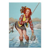 Pin Up Girl, Fishing, Vintage Poster Poster