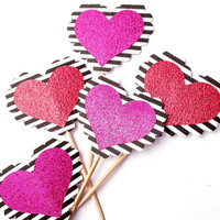 Striped Glitter Heart Cupcake Toppers - 12 Black, White, Pink, Red Valentine's Toppers - Valentine's Day // Birthday Party