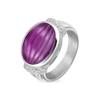 Roma Imperiale Designer Rings Carved Amethyst and Diamond 18K Gold Ring