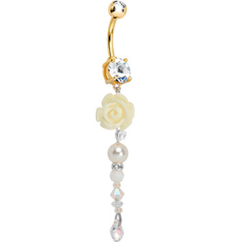 Handcrafted Gold Plated CZ Pure White Rose Bridal Belly Ring | Body Candy Body Jewelry