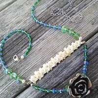 Green Blue Beaded Python Vertebrae Bone Necklace,Real animal Bone jewelry,Ladies Vertebrae Spine Necklace,Shamans Wiccan Pagan Tribal