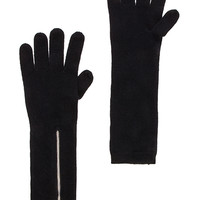 Autumn Cashmere Snake Leather Zip Gloves in Black