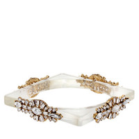 Erickson Beamon Rocks Heart of Glass 24K Gold and Clear Glitz Square Bangle Bracelet