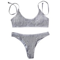 Ruched Halter Brazilian Bikini Set