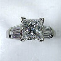2.04ct Princess Baguettes Diamond Engagement Ring GIA certified 18kt White Gold JEWELFORMEBLUE