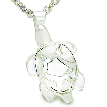 Lucky Turtle Healing Rock Quartz Protection Powers Amulet Pendant 18 Inch Necklace