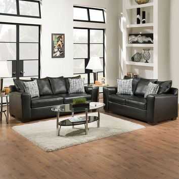 Acme 53820-21 2 pc yahtzee onyx bonded leather upholstered sofa and love seat set