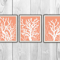 Coral Silhouettes Set of 3 Art Prints - Beach House, Bathroom, Nursery Decor - Orange Coral Modern Art