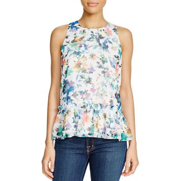 Likely Womens Bayard Floral Print Sleeveless Peplum Top