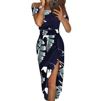 Dark Blue Floral Print Short Sleeve Off Shoulder Midi Dress