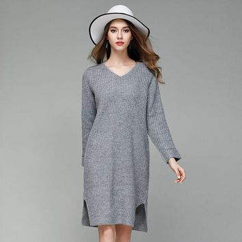 Knitted Dress Casual V-Neck Midi Sweater Dresses