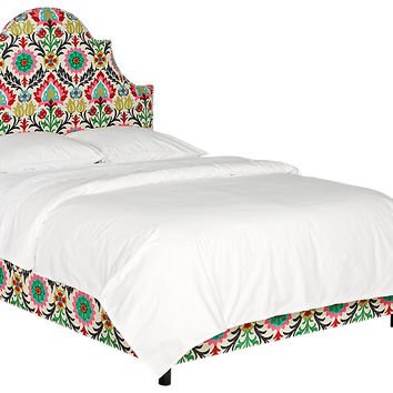 Vallie Green Floral Queen Bed - Queen Beds Colors