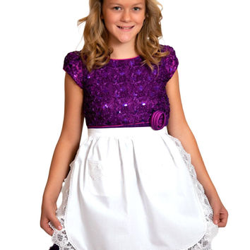 Girls and Petite Women Lace White Half Apron (Ages 4+)