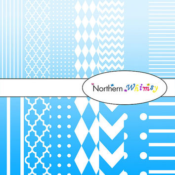 Digital Scrapbooking Paper Set – Ombre Blue and White in stripes, chevron, polka dot, stripe, harlequin, and quatrefoil  INSTANT DOWNLOAD