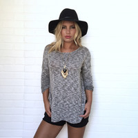Picture Perfect Crochet & Knit Top In Black