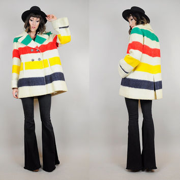 HUDSON BAY vtg 70's Wool rainbow Stripe Four POINT blanket native Peacoat colorblock native cape jacket Medium / Large