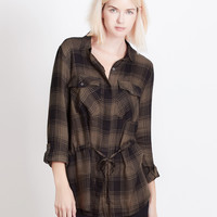 LE3NO Womens Plaid Button Down Tunic Shirt with Roll Up Sleeves (CLEARANCE)