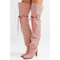 Gucci Rope drawstring canvas knee length high tube women's boots
