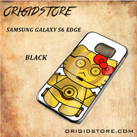 C3PO Hello Kitty Star Wars Black White Snap On 3D For Samsung Galaxy S6 Edge Case