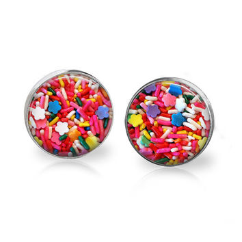 Candy Sprinkles Earrings Cute Pink Glass Stud Earrings Candy Jewelry Candy Earrings Sprinkles Jewelry Earring Sweets Dessert Food Jewelry