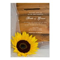 Sunflower and Veil Country Wedding Invite from Zazzle.com