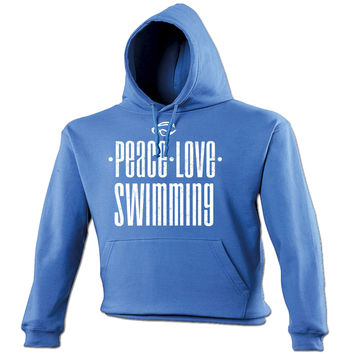 123t USA Peace Love Swimming Funny Hoodie