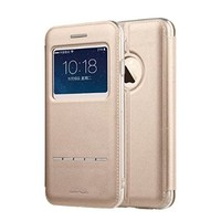 XY005 iPhone 6 Case, [Touch Series] [View Window] Folio Flip PU Leather Case [Attractive Design], Case for iPhone 6 with Stand & Metal Sensor Feature-4.7 inch (Gold)