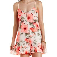 Neon Pink Floral Print Ruffle Romper by Charlotte Russe