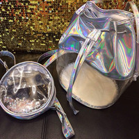 Clear Holographic Bucket Bag Transparent Silver Hologram Purse Pouch Messenger Handbag Party Travel Shoulder Bag