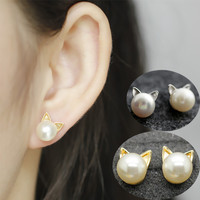 Pearl Cat Earrings-Meow!