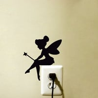 Fairy Fabric Wall Decal - Tinker Bell Silhouette Velvet Wall Sticker - Kids Room Wall Art - Pixie Nursery Wall Decor