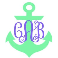 Anchor Monogram Decal for Car, Notebook, Laptop, Water Bottle, Anything!