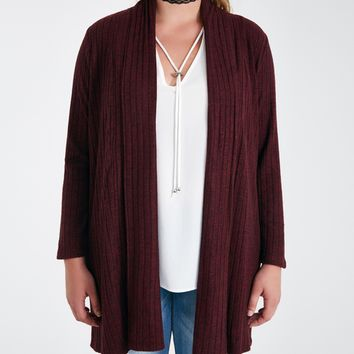 Plus Size Soft Ribbed Knit Cardigan | Wet Seal Plus