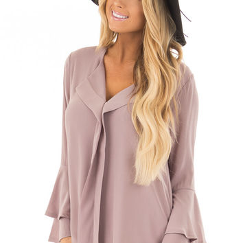 Light Rose Mocha Blouse with Tiered Bell Sleeves