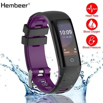 Hembeer H16 Heart Rate Monitor Blood Pressure Smart Bracelet Full View IPS Screen Smart Band Colorful Screen Band pk Fitbits