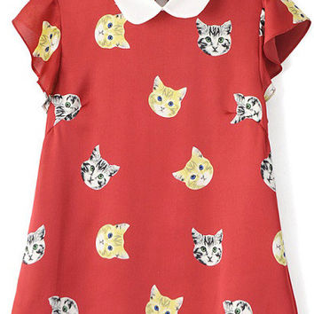Red Short Bell Sleeve Cat Print Top with Collar