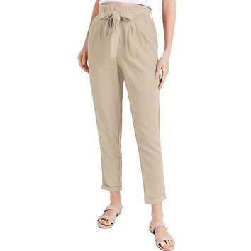 Casual Linen Blend Paper Bag Trouser Pants With Pockets