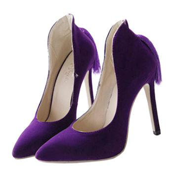 Back Heel Tassel Pointed Thin High Heel Low-cut Wedding Shoes  purple  35