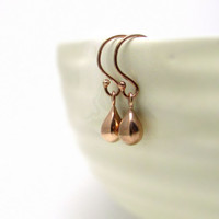 Rose gold drop earrings, delicate earrings, rose gold teardrops, pink gold jewelry, small gold drop earrings, tiny rose gold earrings