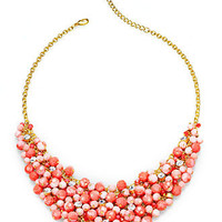 Charter Club Necklace, Gold-Tone Crystal Coral Bead Shaky Bib Necklace - Fashion Jewelry - Jewelry & Watches - Macy's